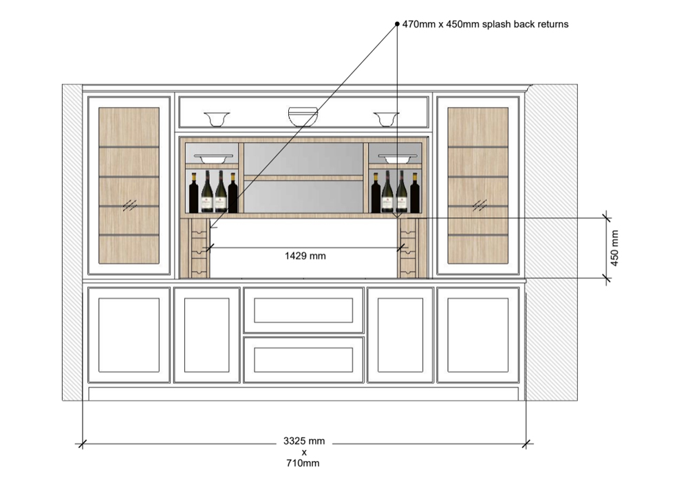 bespoke kitchen design sketch art